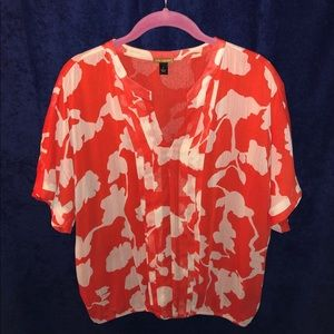 Orange and White Floral Print Short Sleeve Blouse